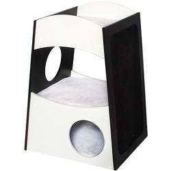 Дарэлл Домик-когтеточка для кошек 2х-уровневый Домино МДФ, игрушечный мех, ковролин