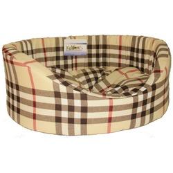 Бобровый дворик Лежак овальный с бортиком для собак и кошек Шотландка светлая