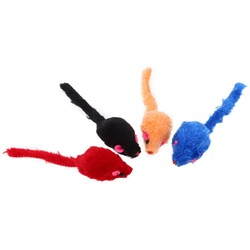 Антицарапки Мышь-погремушка для кошек однотонная меховая