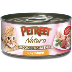 Petreet Консервы для кошек кусочки тихоокеанского тунца с курицей в рыбном бульоне