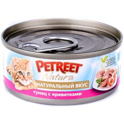 Petreet Консервы для кошек кусочки тунца с креветками в рыбном супе