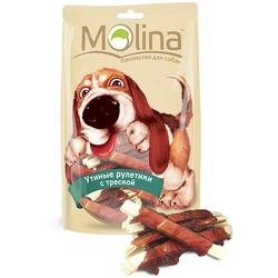 Molina Лакомство для собак Утиные рулетики с треской