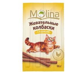 Molina Жевательные колбаски для кошек с курицей