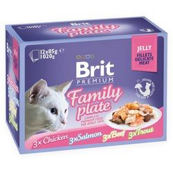 Brit Premium Cat Pouch Family Plate Jelly - Набор паучей для кошек в желе Семейная тарелка