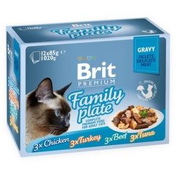 Brit Premium Cat Pouch Family Plate Gravy - Набор паучей для кошек в соусе Семейная тарелка