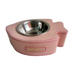 4 My Pets Миска Рыбка розовая на подставке из кожзама