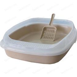 №1 Туалет с бортом без решетки для кошек Бежевый