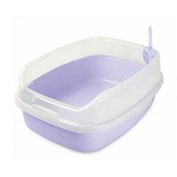 №1 Туалет прямоугольный большой с бортом для крупных кошек Сиреневый