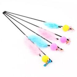 Smartpet Игрушка для кошек Удочка с пумпончиком и перышками на веревке