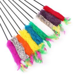 Антицарапки Игрушка для кошек Дразнилка с меховым концом и перьями