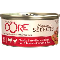 Wellness CORE SIGNATURE SELECTS консервы из говядины с курицей в виде кусочков в соусе для кошек