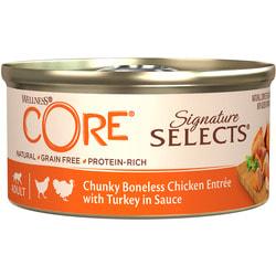 Wellness CORE SIGNATURE SELECTS консервы из курицы с индейкой в виде кусочков в соусе для кошек