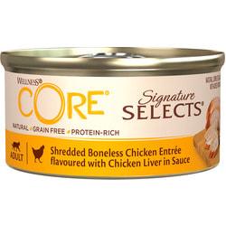Wellness CORE SIGNATURE SELECTS консервы из курицы с куриной печенью в виде фарша в соусе для кошек