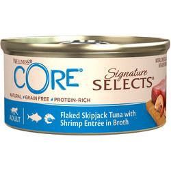 Wellness CORE SIGNATURE SELECTS консервы из тунца с креветками в виде кусочков в бульоне для кошек