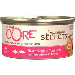 Wellness CORE SIGNATURE SELECTS консервы из тунца с лососем в виде кусочков в бульоне для кошек