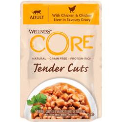 Wellness CORE TENDER CUTS паучи из курицы с куриной печенью в виде нарезки в соусе для кошек