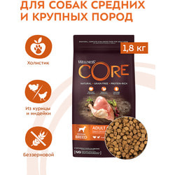 Сухой корм Wellness CORE Grain Free Adult Medium из индейки с курицей для взрослых собак средних пород