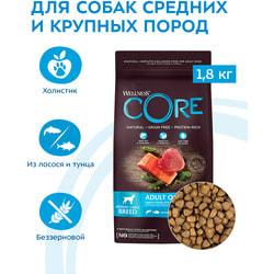 Сухой корм Wellness CORE Grain Free Adult Ocean Medium/Large из лосося с тунцом для взрослых собак средних и крупных пород