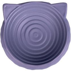 КерамикАрт Миска керамическая для кошек круглая с ушками серая