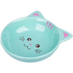 КерамикАрт Миска керамическая для кошек мордочка кошки, голубая