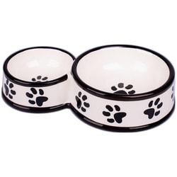 КерамикАрт Миска для собак двойная, белая с лапками