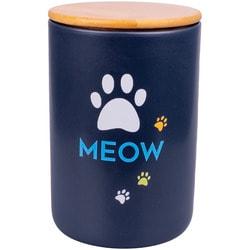 КерамикАрт Бокс керамический для хранения корма для кошек Meow, черный