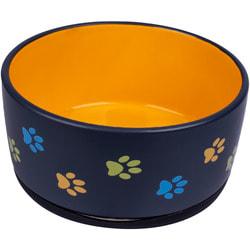 КерамикАрт Миска керамическая для собак черная с оранжевым