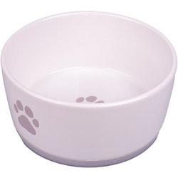 КерамикАрт Миска керамическая для собак белая с серой лапкой