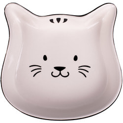 КерамикАрт Миска керамическая для кошек мордочка кошки, черный с белым
