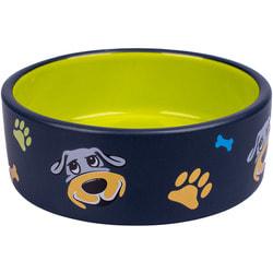 КерамикАрт Миска керамическая для собак черная с салатовым