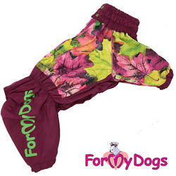 ForMyDogs Дождевик для крупных собак Листья бордовый для девочек