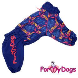 ForMyDogs Дождевик для крупных собак Листья синий девочка