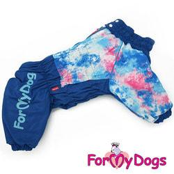 ForMyDogs Теплый комбинезон для больших собак Синий на мальчика