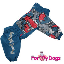 ForMyDogs Дождевик на крупные породы собак Камуфляж синий мальчик