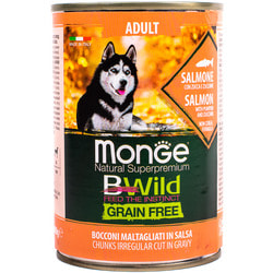 Monge Dog BWild GRAIN FREE беззерновые консервы из лосося с тыквой и кабачками для взрослых собак всех пород