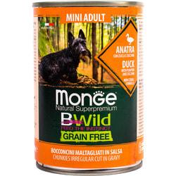 Monge Dog BWild GRAIN FREE Mini беззерновые консервы из утки с тыквой и кабачками для взрослых собак мелких пород