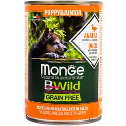 Monge Dog BWild GRAIN FREE Puppy+Junior беззерновые консервы из утки с тыквой и кабачками для щенков всех пород