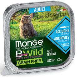 Monge Cat BWild GRAIN FREE беззерновые консервы из анчоусов с овощами для взрослых кошек