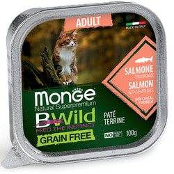 Monge Cat BWild GRAIN FREE беззерновые консервы из лосося с овощами для взрослых кошек