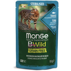 Monge Cat BWild GRAIN FREE паучи из тунца с креветками и овощами для стерилизованных кошек