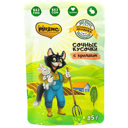 Мнямс Сочные кусочки для кошек с кроликом «Фермерская ярмарка» линия Кот Федор