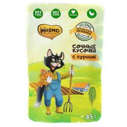 Мнямс Сочные кусочки для кошек с курицей «Фермерская ярмарка» линия Кот Федор