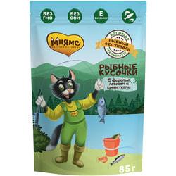 Мнямс Рыбные кусочки для кошек с лососем, креветками и форелью Рыбный фестиваль
