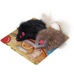 DOGMAN Мышка меховая гремящая с пером