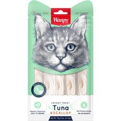 Wanpy Лакомство для кошек «нежное пюре» из тунца и гребешка