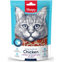 Wanpy Лакомство для кошек «суши» из курицы с треской