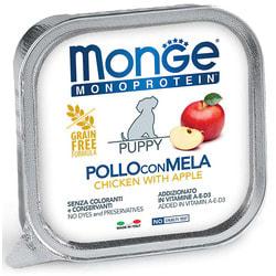 Консервы Monge Dog Monoprotein Fruits для щенков паштет из курицы с яблоком