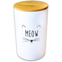 КерамикАрт Бокс керамический для хранения корма для кошек MEOW белый