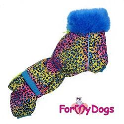 ForMyDogs Теплый комбинезон для такс Синий Леопард на меху для мальчика