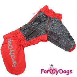 ForMyDogs Комбинезон для больших собак Красно/черный на меху, девочка